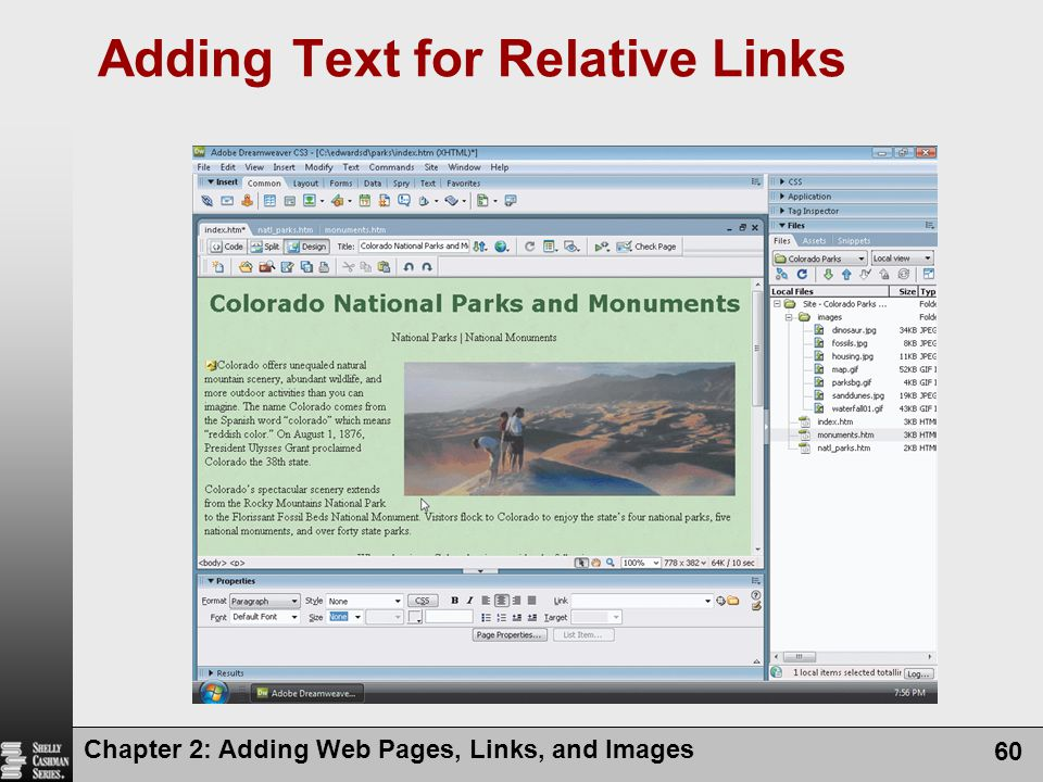 Chapter 2: Adding Web Pages, Links, and Images 60 Adding Text for Relative Links