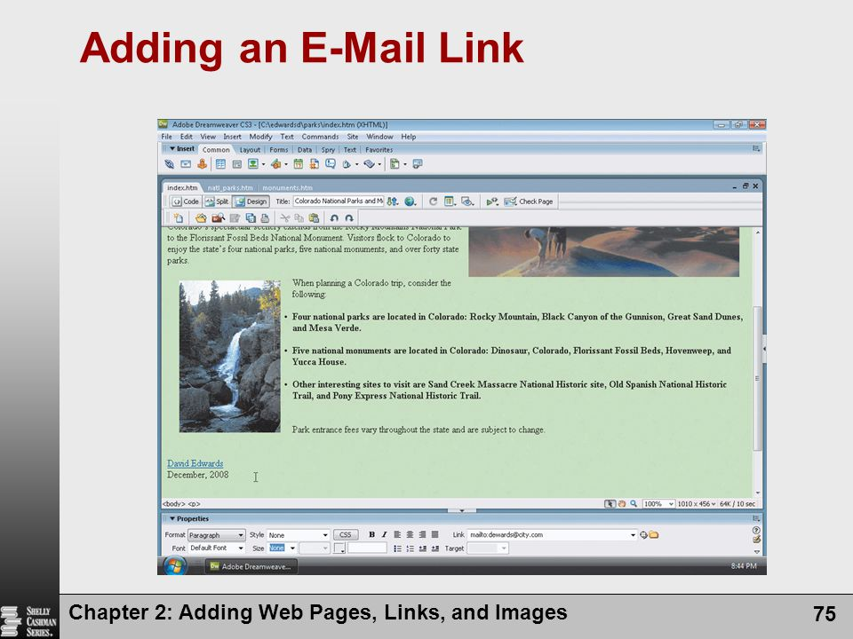 Chapter 2: Adding Web Pages, Links, and Images 75 Adding an E-Mail Link