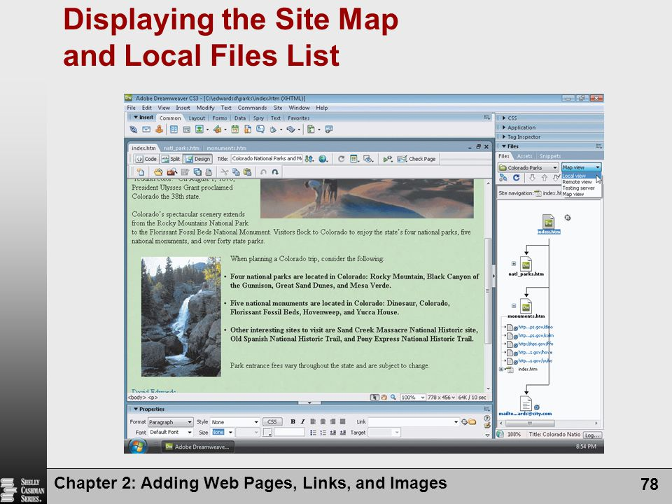 Chapter 2: Adding Web Pages, Links, and Images 78 Displaying the Site Map and Local Files List