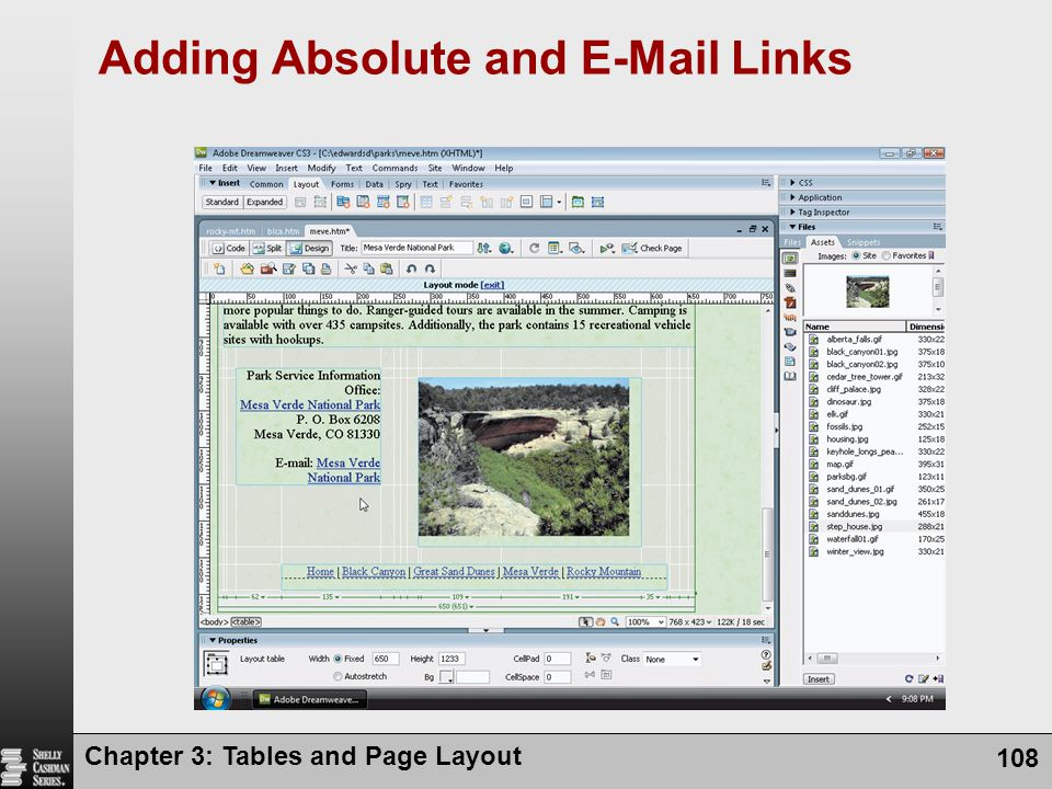 Chapter 3: Tables and Page Layout 108 Adding Absolute and E-Mail Links