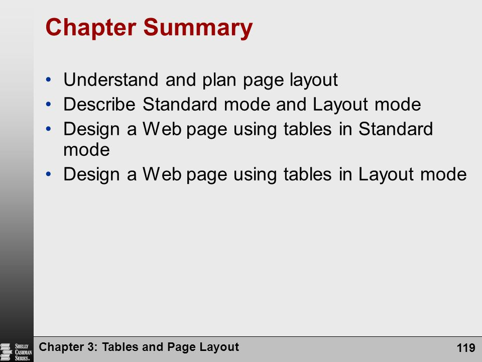 Chapter 3: Tables and Page Layout 119 Chapter Summary Understand and plan page layout Describe Standard mode and Layout mode Design a Web page using tables in Standard mode Design a Web page using tables in Layout mode