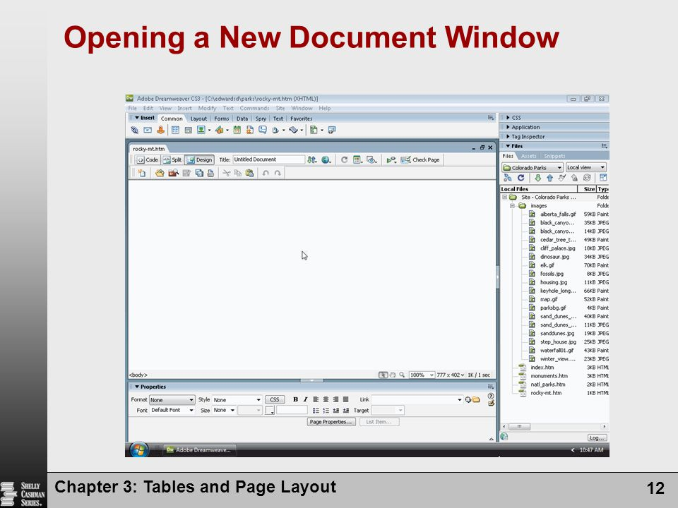 Chapter 3: Tables and Page Layout 12 Opening a New Document Window