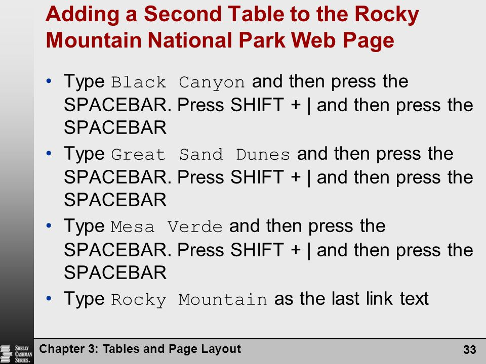 Chapter 3: Tables and Page Layout 33 Adding a Second Table to the Rocky Mountain National Park Web Page Type Black Canyon and then press the SPACEBAR.