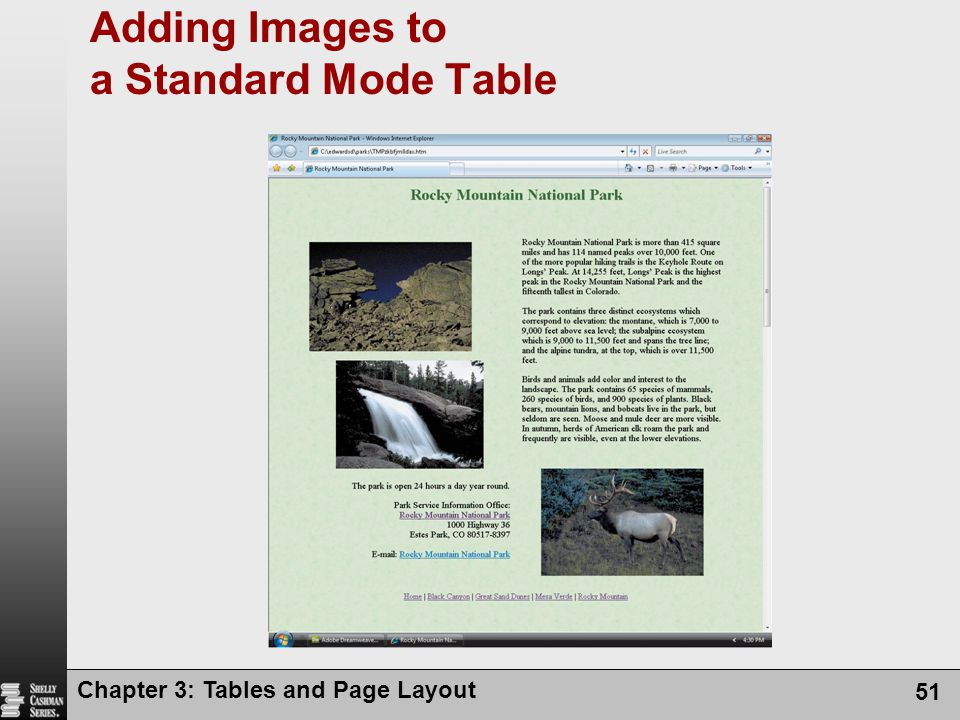 Chapter 3: Tables and Page Layout 51 Adding Images to a Standard Mode Table