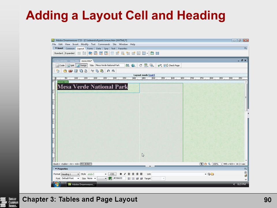 Chapter 3: Tables and Page Layout 90 Adding a Layout Cell and Heading