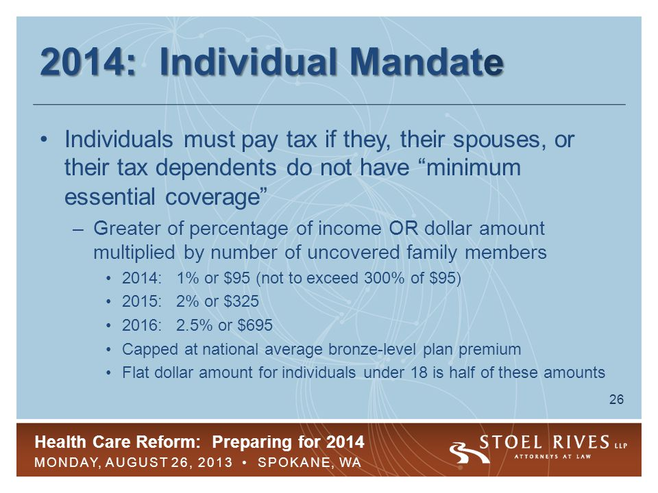 Health Care Reform: Preparing for 2014 MONDAY, AUGUST 26, 2013 SPOKANE, WA 26 2014: Individual Mandate Individuals must pay tax if they, their spouses, or their tax dependents do not have minimum essential coverage –Greater of percentage of income OR dollar amount multiplied by number of uncovered family members 2014: 1% or $95 (not to exceed 300% of $95) 2015: 2% or $325 2016: 2.5% or $695 Capped at national average bronze-level plan premium Flat dollar amount for individuals under 18 is half of these amounts