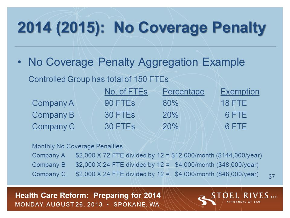 Health Care Reform: Preparing for 2014 MONDAY, AUGUST 26, 2013 SPOKANE, WA 37 2014 (2015): No Coverage Penalty No Coverage Penalty Aggregation Example Controlled Group has total of 150 FTEs No.