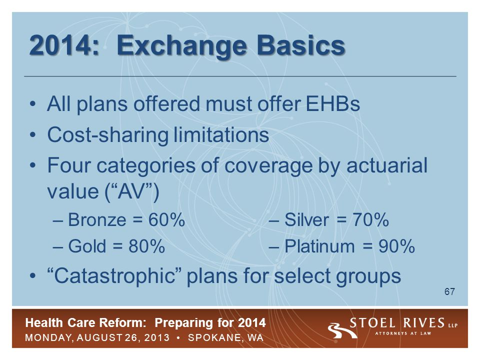 Health Care Reform: Preparing for 2014 MONDAY, AUGUST 26, 2013 SPOKANE, WA 67 2014: Exchange Basics All plans offered must offer EHBs Cost-sharing lim