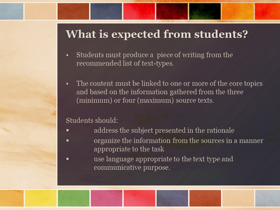 What is expected from students.