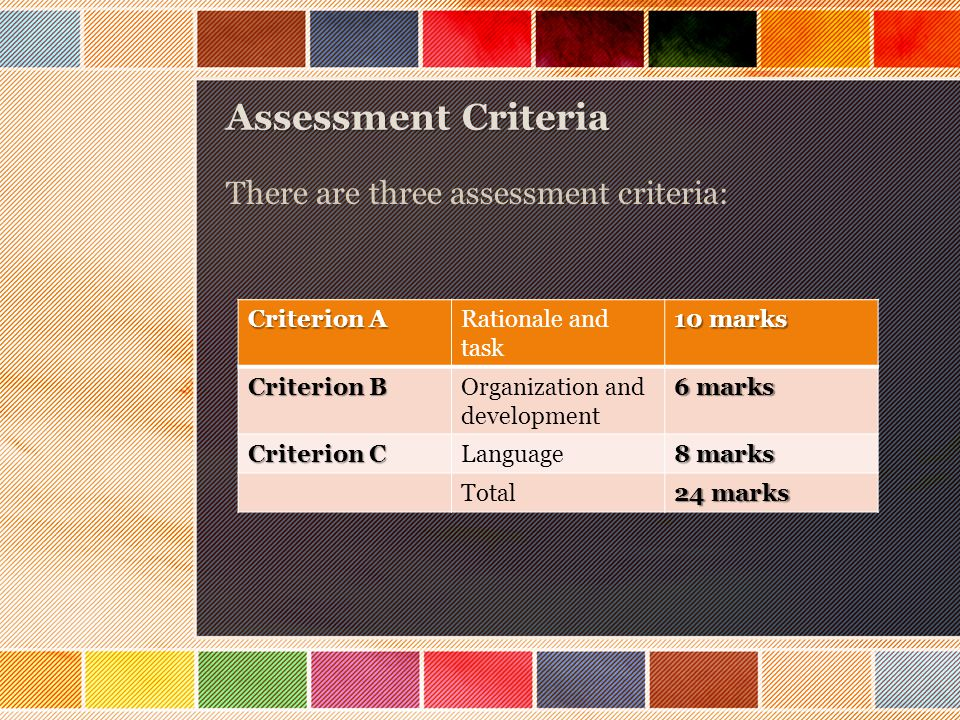 Assessment Criteria There are three assessment criteria: Criterion A Rationale and task 10 marks Criterion B Organization and development 6 marks Criterion C Language 8 marks Total 24 marks