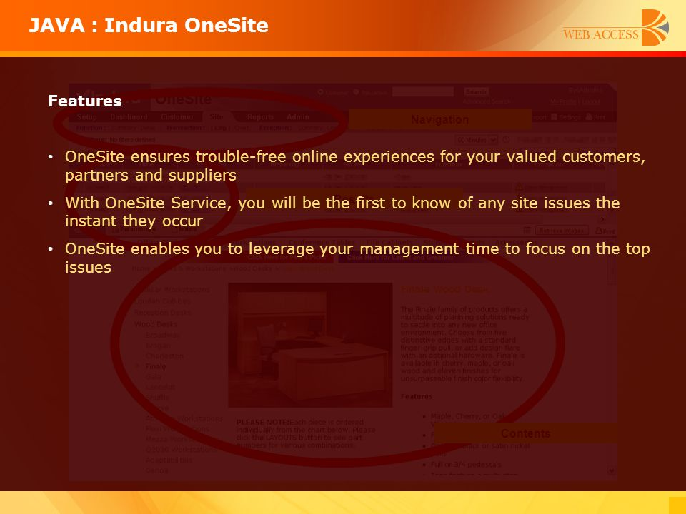 JAVA : Indura OneSite Navigation Contents Results Features OneSite ensures trouble-free online experiences for your valued customers, partners and sup