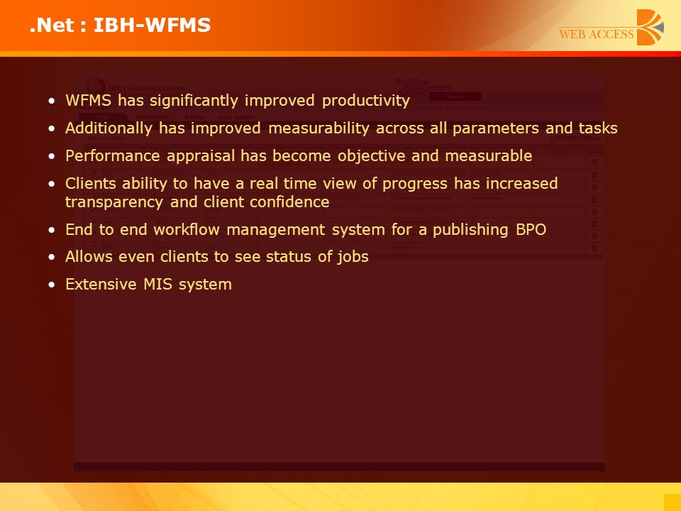 WFMS has significantly improved productivity Additionally has improved measurability across all parameters and tasks Performance appraisal has become