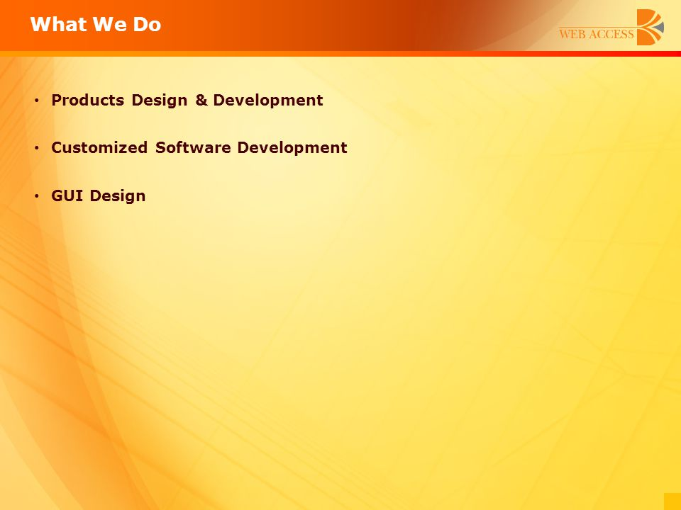 What We Do Products Design & Development Customized Software Development GUI Design