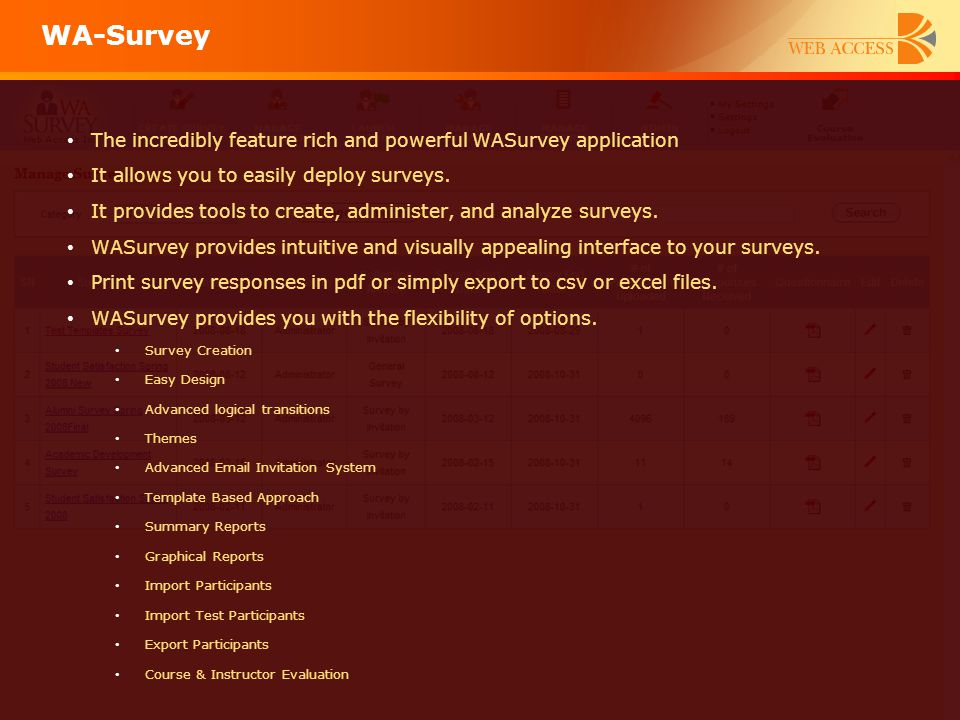 The incredibly feature rich and powerful WASurvey application It allows you to easily deploy surveys. It provides tools to create, administer, and ana
