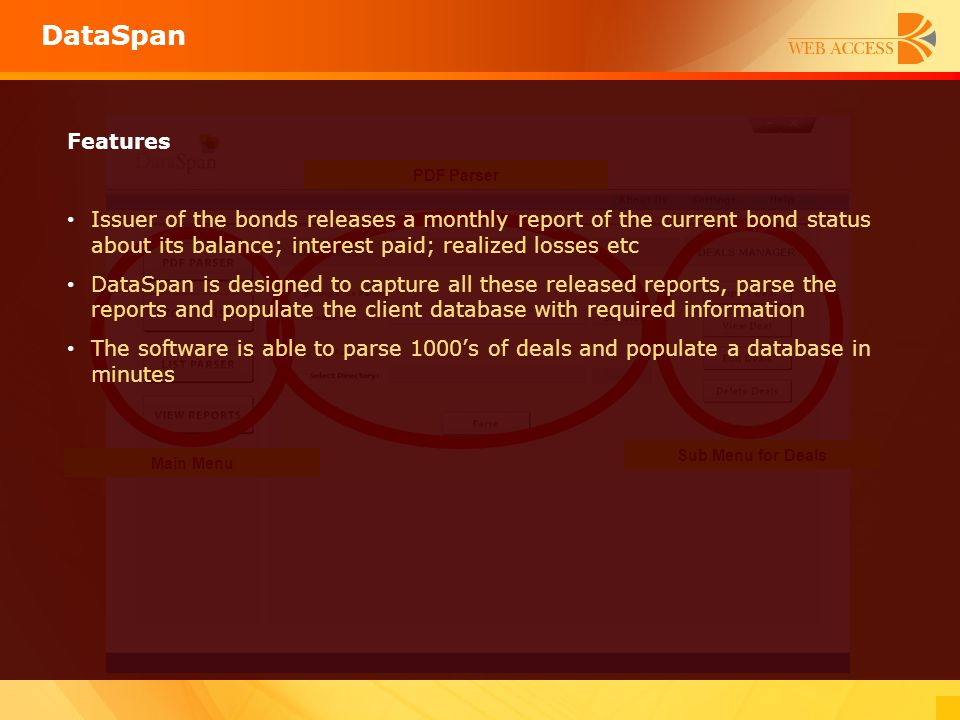 DataSpan Main Menu Sub Menu for Deals PDF Parser Features Issuer of the bonds releases a monthly report of the current bond status about its balance;