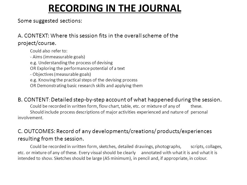 RECORDING IN THE JOURNAL Some suggested sections: A.