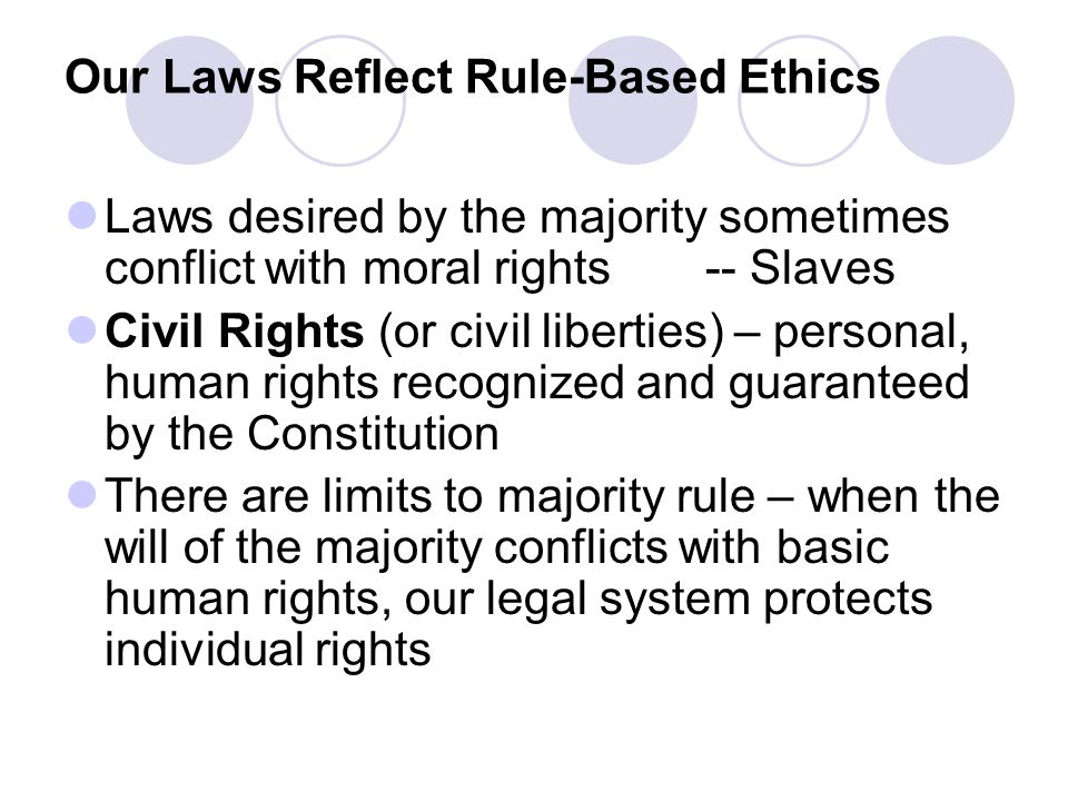 Our Laws Reflect Rule-Based Ethics Laws desired by the majority sometimes conflict with moral rights-- Slaves Civil Rights (or civil liberties) – pers
