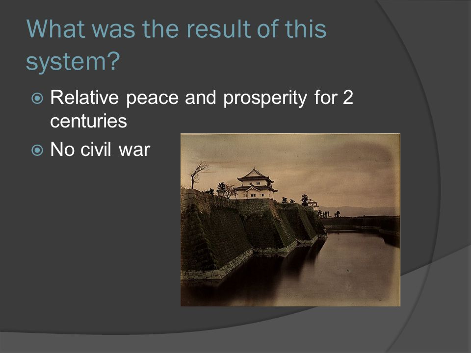What was the result of this system  Relative peace and prosperity for 2 centuries  No civil war