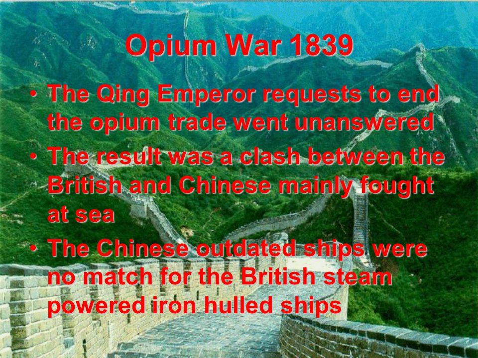 Treaty of Nanjing 1842 Ended the Opium WarsEnded the Opium Wars Gave Britain Hong KongGave Britain Hong Kong Opened five ports to foreign trade and extraterritorial rightsOpened five ports to foreign trade and extraterritorial rights Resentment from the Chinese people towards the outsiders and Chinese gov'tResentment from the Chinese people towards the outsiders and Chinese gov't