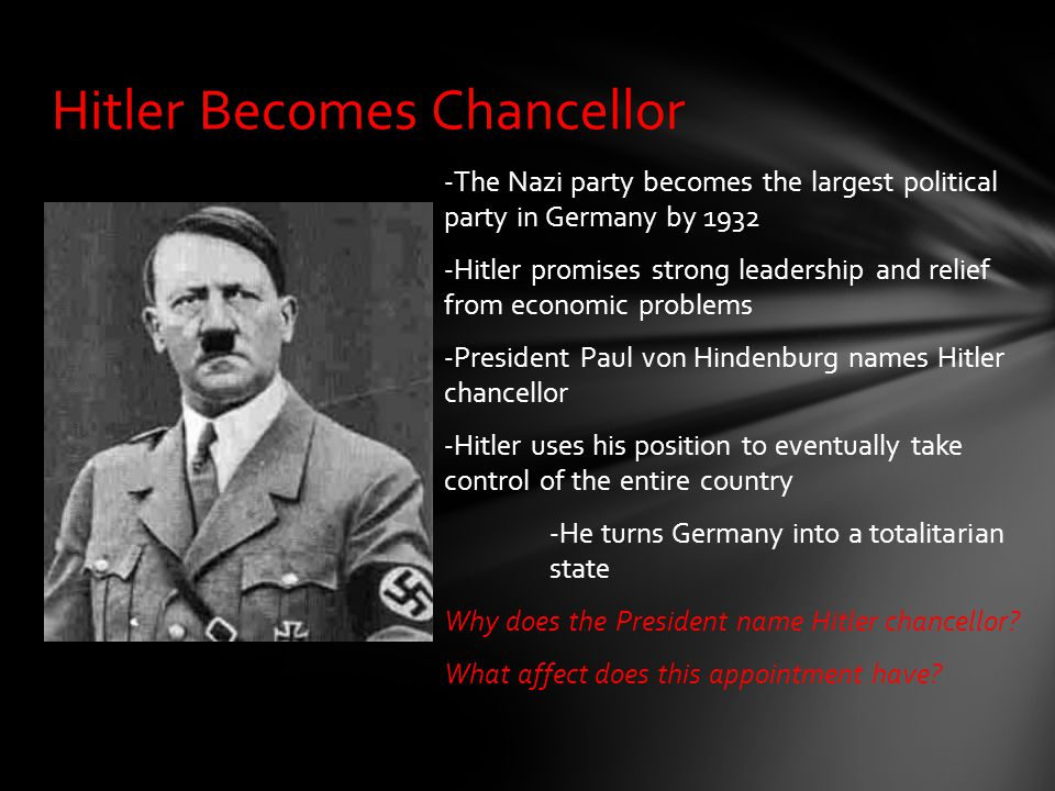 -The Nazi party becomes the largest political party in Germany by 1932 -Hitler promises strong leadership and relief from economic problems -President