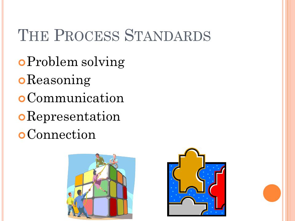 T HE P ROCESS S TANDARDS Problem solving Reasoning Communication Representation Connection