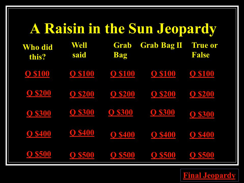 A Raisin in the Sun Jeopardy Q $100 Q $200 Q $300 Q $400 Q $500 Q $100 Q $200 Q $300 Q $400 Q $500 Final Jeopardy Who did this.