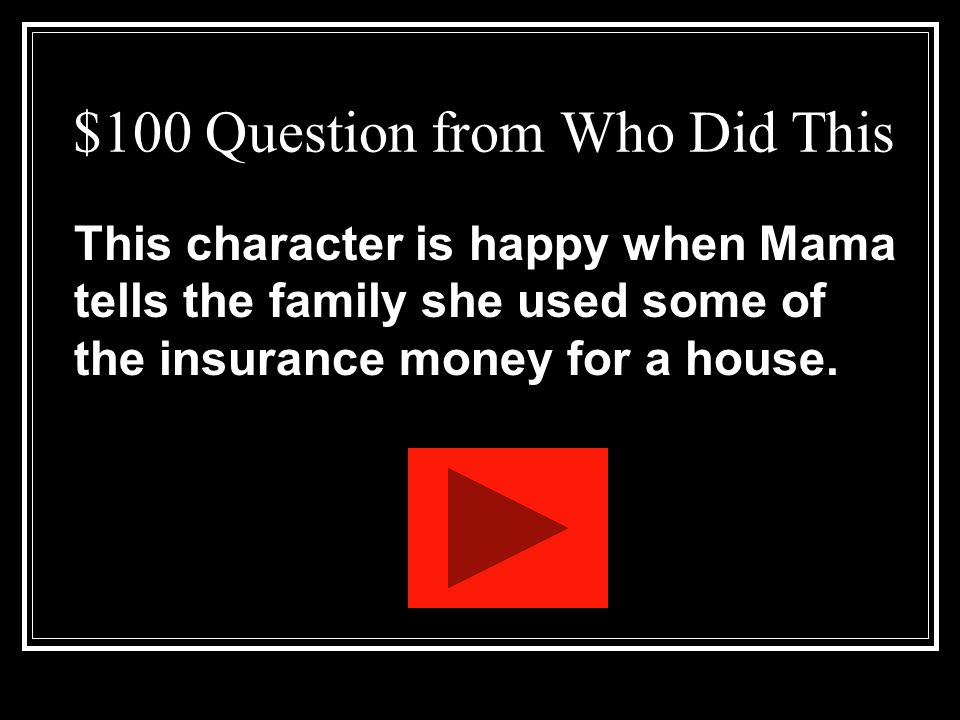 $100 Question from Grab Bag II Name the five major characters of the play