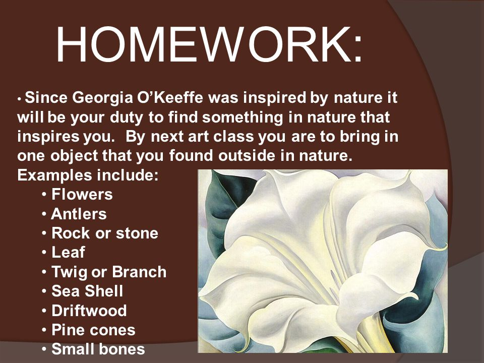 HOMEWORK: Since Georgia O'Keeffe was inspired by nature it will be your duty to find something in nature that inspires you.