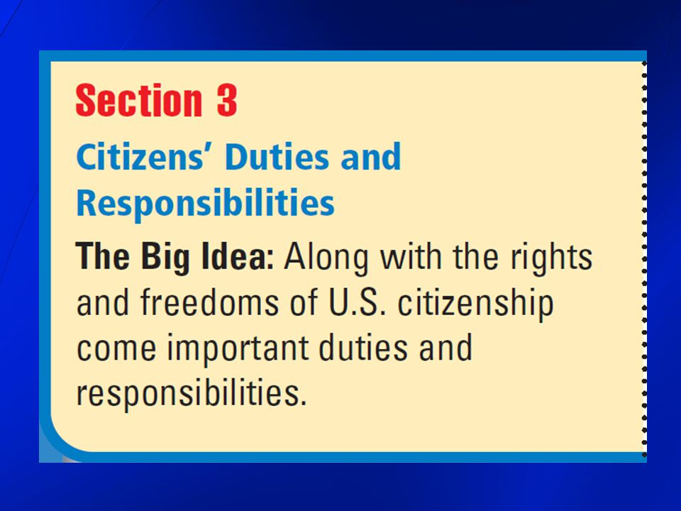 Taking Part in Government citizens should be involved in their government as members of a political party or as independent voters democratic government cannot truly represent the interests of the minority if too many people refuse to participate and will not share their viewpoints with government leaders some citizens must be willing to serve as officials of government the quality of any democratic government depends on the quality of the people who serve in it Responsibilities of Citizenship