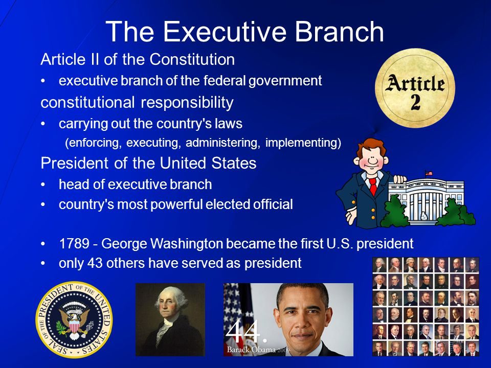 The Executive Branch Article II of the Constitution executive branch of the federal government constitutional responsibility carrying out the country'