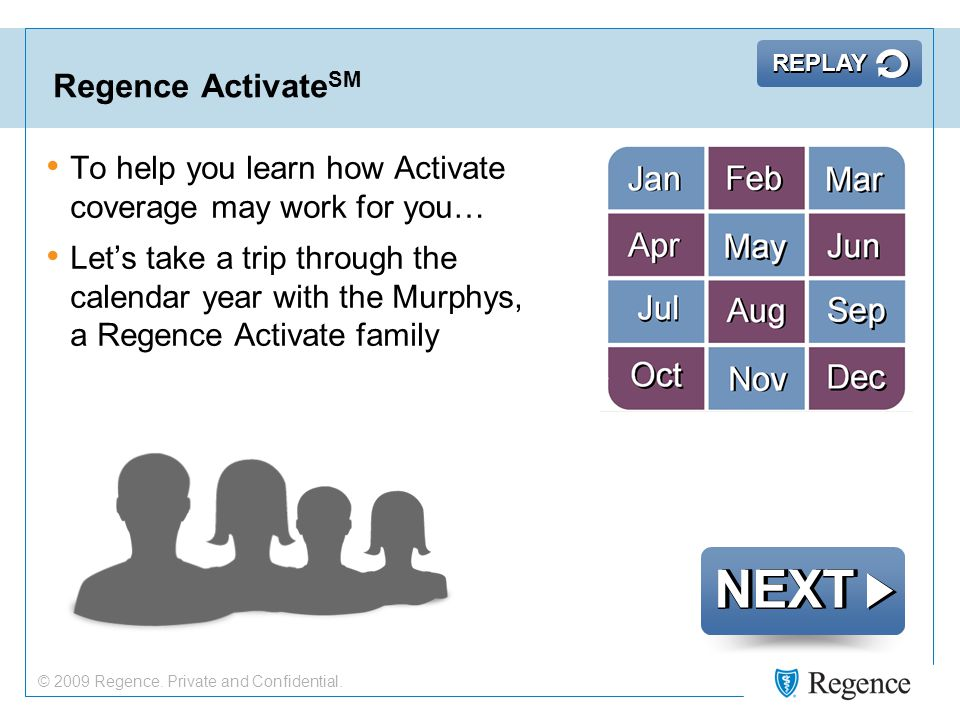 Regence Activate SM NEXT To help you learn how Activate coverage may work for you… Let's take a trip through the calendar year with the Murphys, a Regence Activate family REPLAY