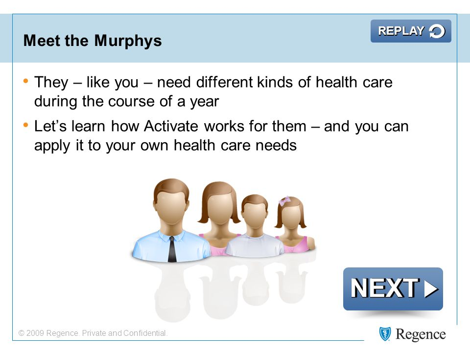 Meet the Murphys They – like you – need different kinds of health care during the course of a year Let's learn how Activate works for them – and you can apply it to your own health care needs NEXT REPLAY