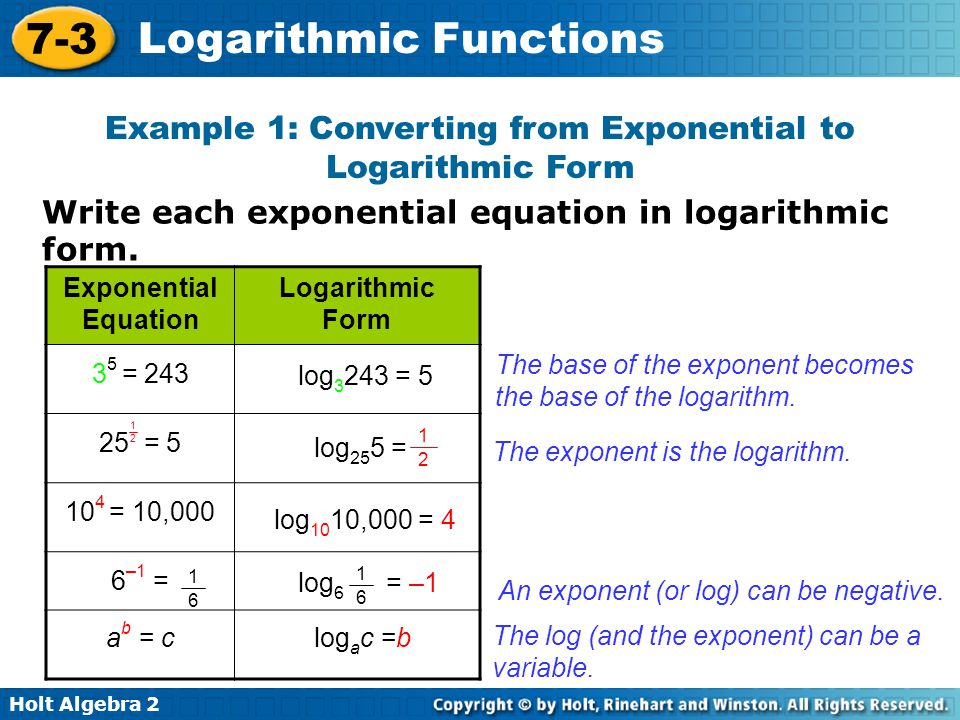 Holt Algebra 2 7-3 Logarithmic Functions Write each exponential equation in logarithmic form.