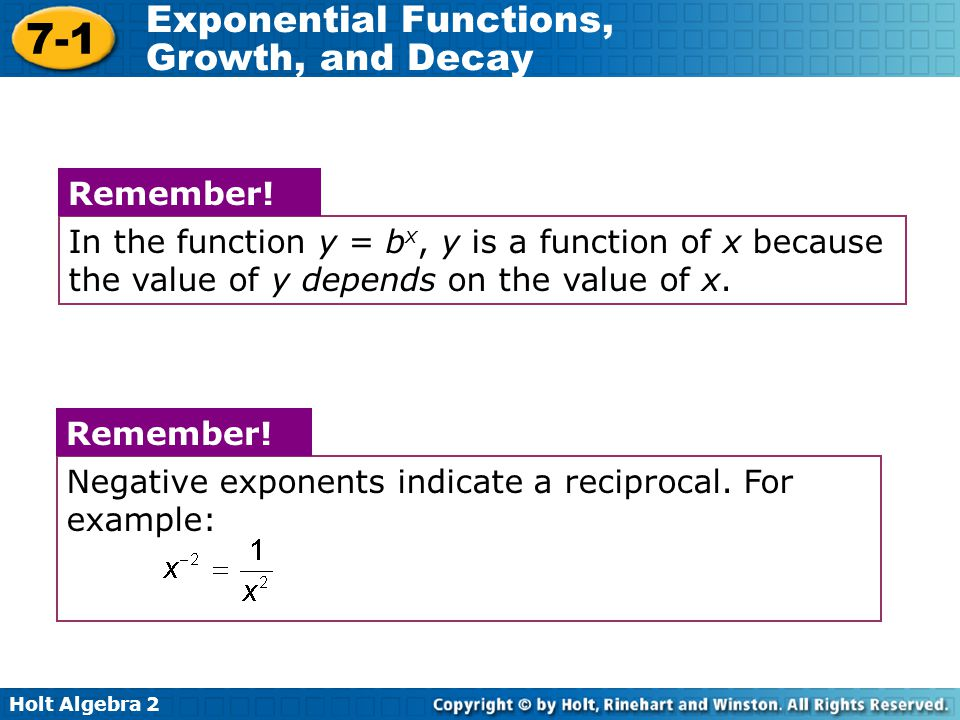 Holt Algebra 2 7-1 Exponential Functions, Growth, and Decay Negative exponents indicate a reciprocal.