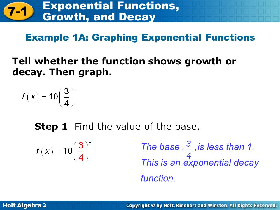 Holt Algebra 2 7-1 Exponential Functions, Growth, and Decay Tell whether the function shows growth or decay.