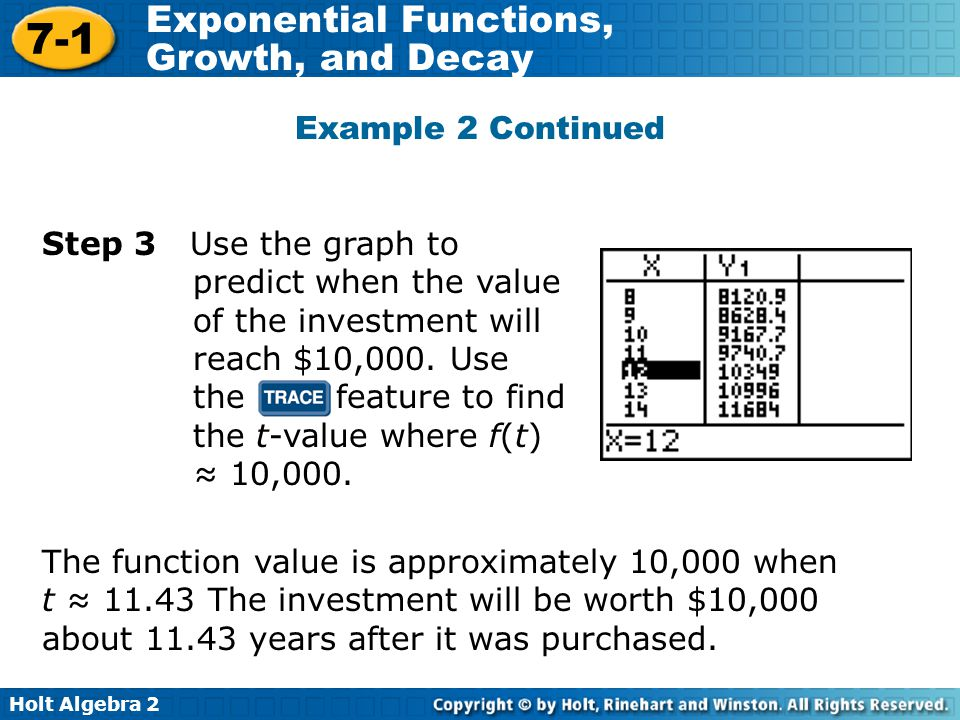 Holt Algebra 2 7-1 Exponential Functions, Growth, and Decay Example 2 Continued Step 3 Use the graph to predict when the value of the investment will reach $10,000.