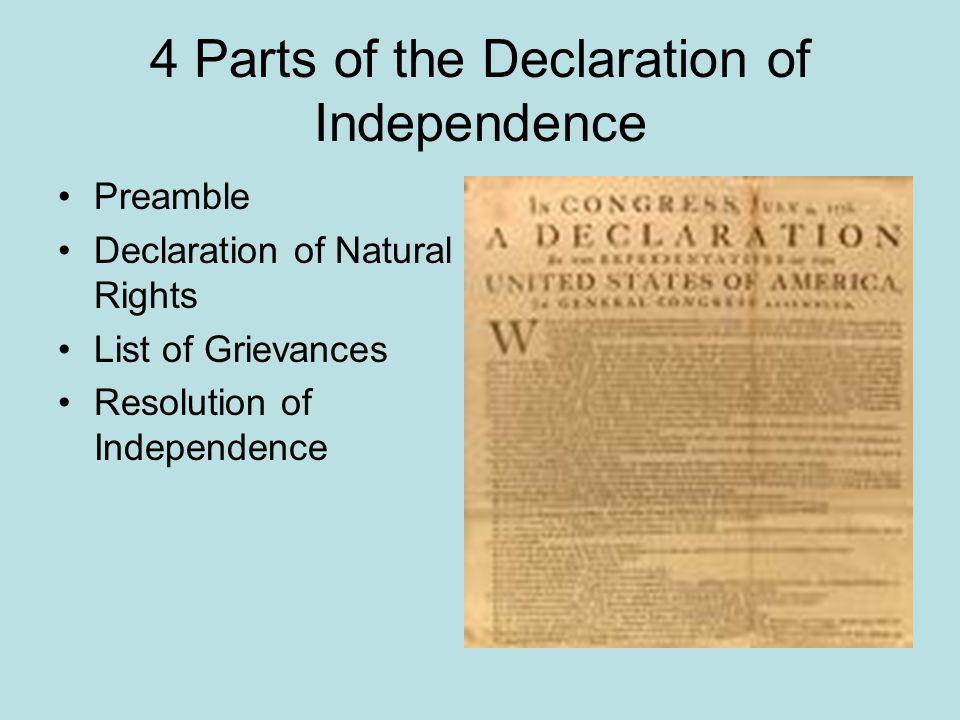 4 Parts of the Declaration of Independence Preamble Declaration of Natural Rights List of Grievances Resolution of Independence