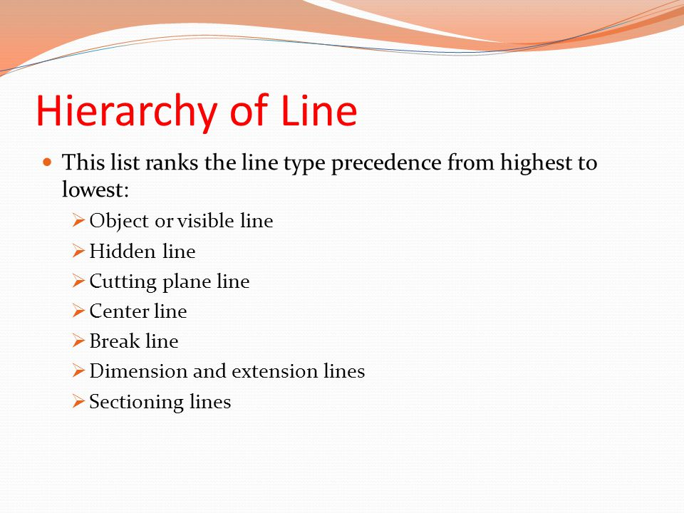 Hierarchy of Line This list ranks the line type precedence from highest to lowest:  Object or visible line  Hidden line  Cutting plane line  Cente