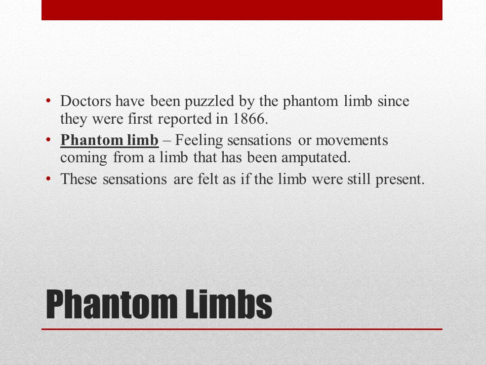 Phantom Limbs Doctors have been puzzled by the phantom limb since they were first reported in 1866.