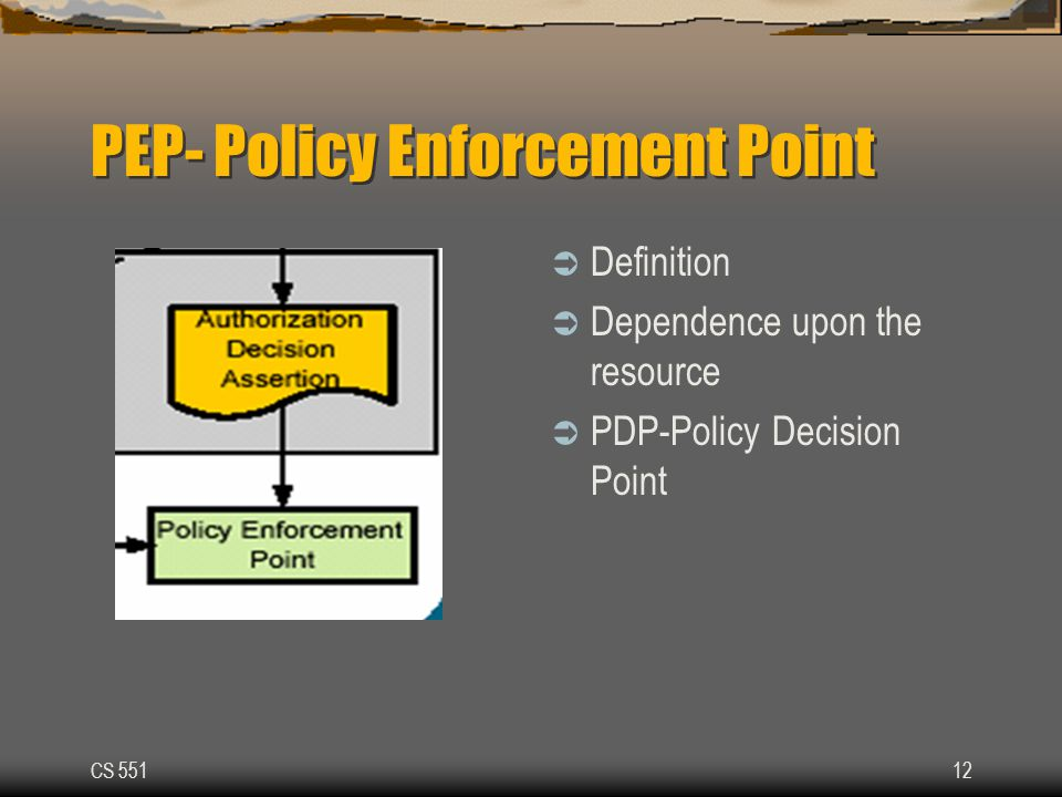 CS 55112 PEP- Policy Enforcement Point  Definition  Dependence upon the resource  PDP-Policy Decision Point