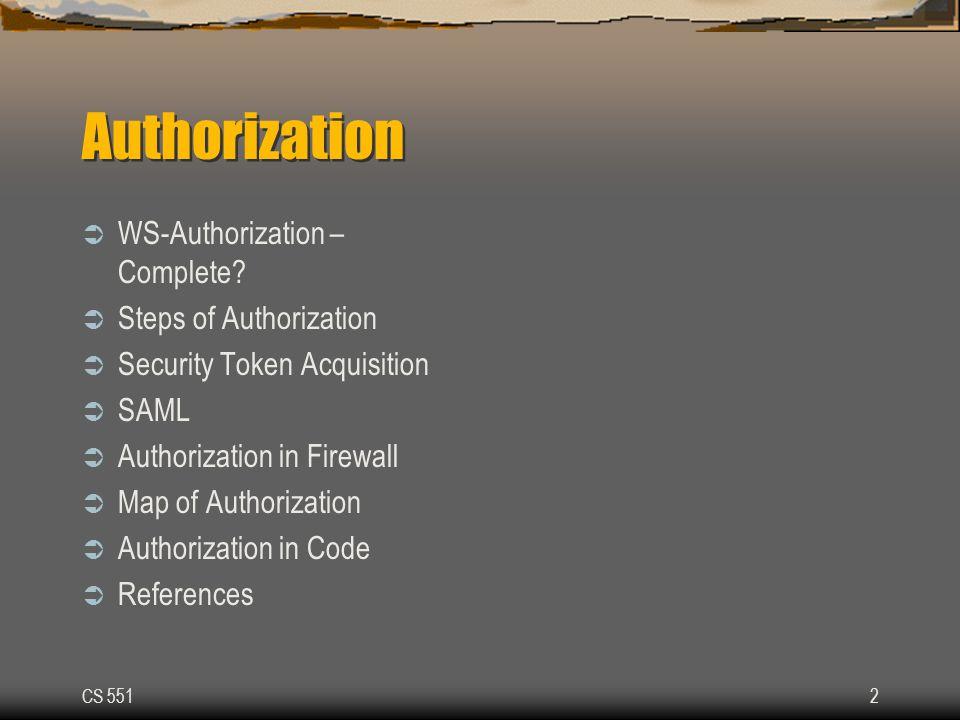 CS 5512 Authorization  WS-Authorization – Complete.