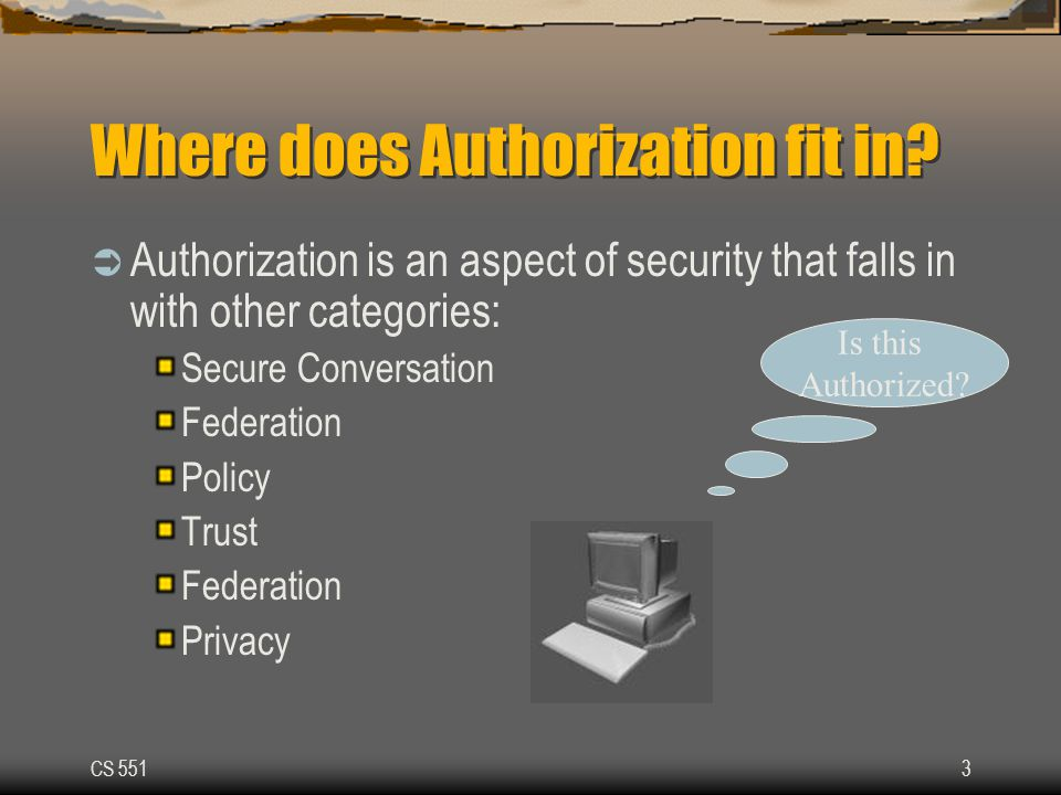 CS 5513 Where does Authorization fit in.