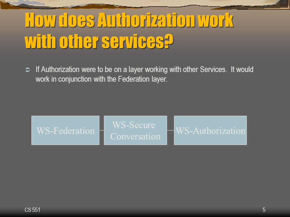CS 5515 How does Authorization work with other services.