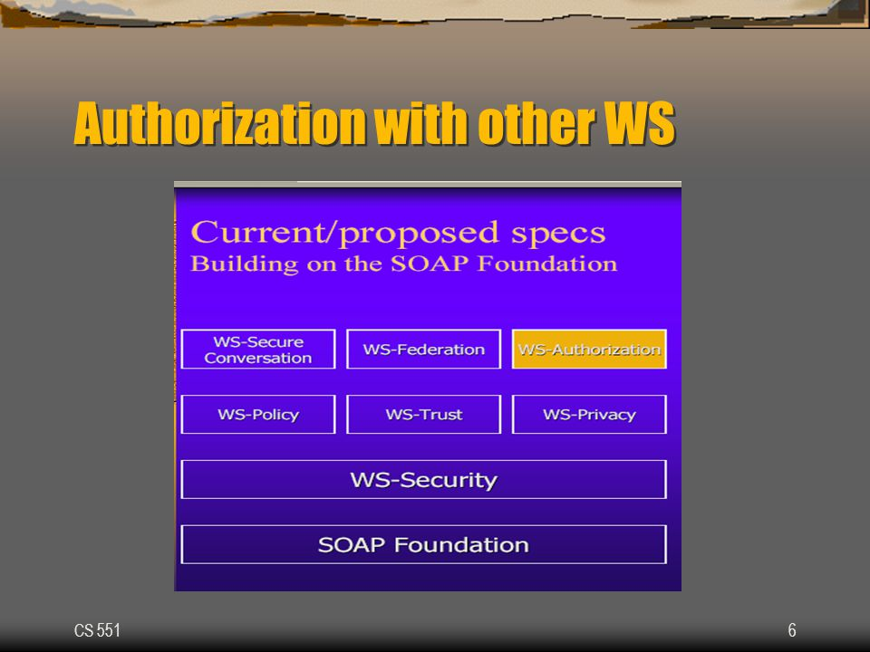 CS 5516 Authorization with other WS
