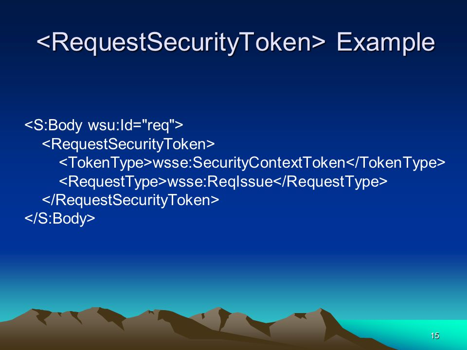 15 Example Example wsse:SecurityContextToken wsse:ReqIssue