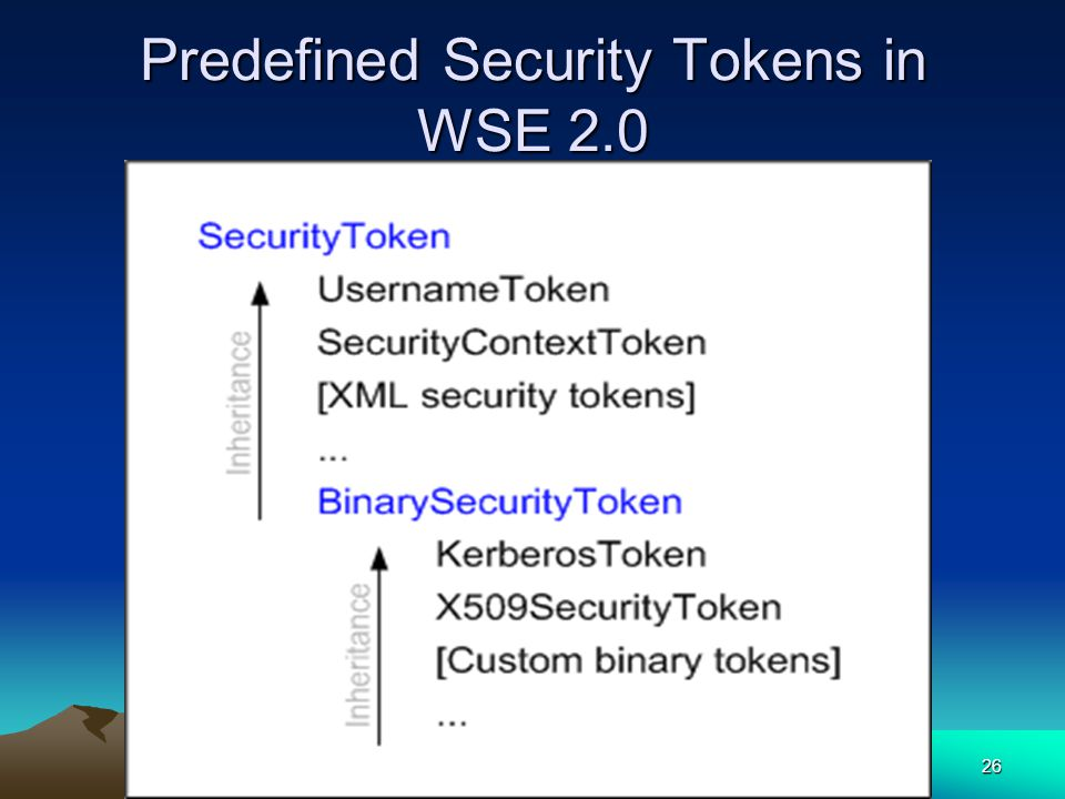 26 Predefined Security Tokens in WSE 2.0