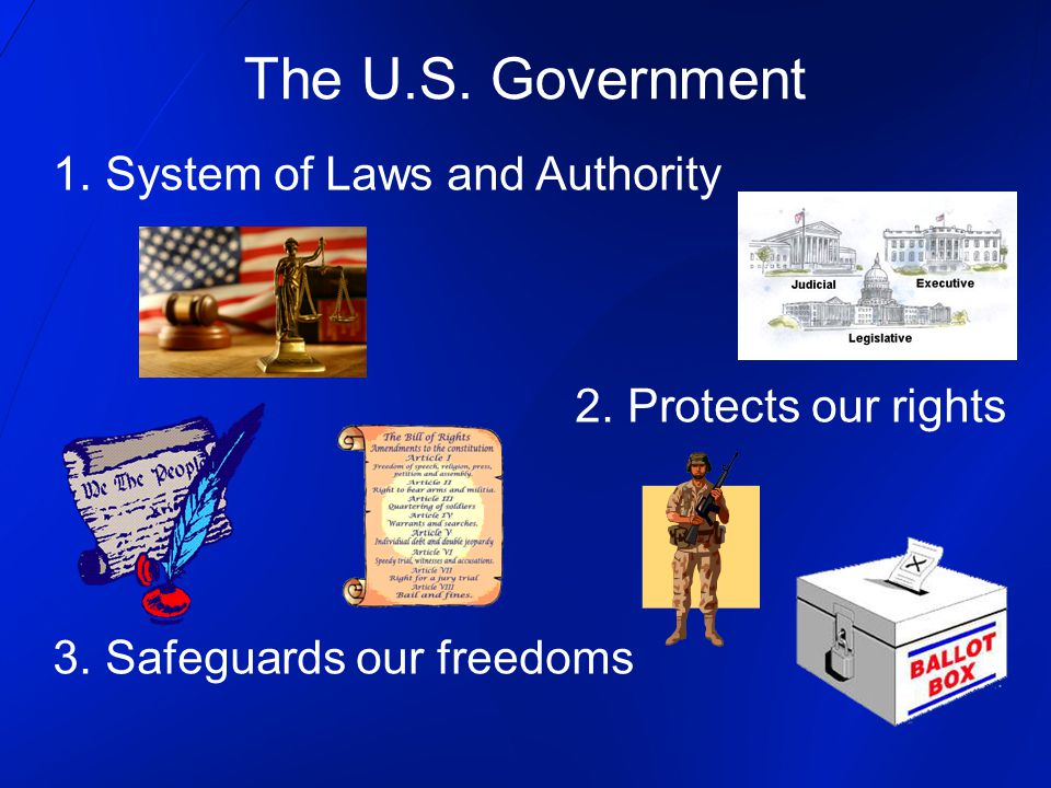 The U.S. Government 1. System of Laws and Authority 2.