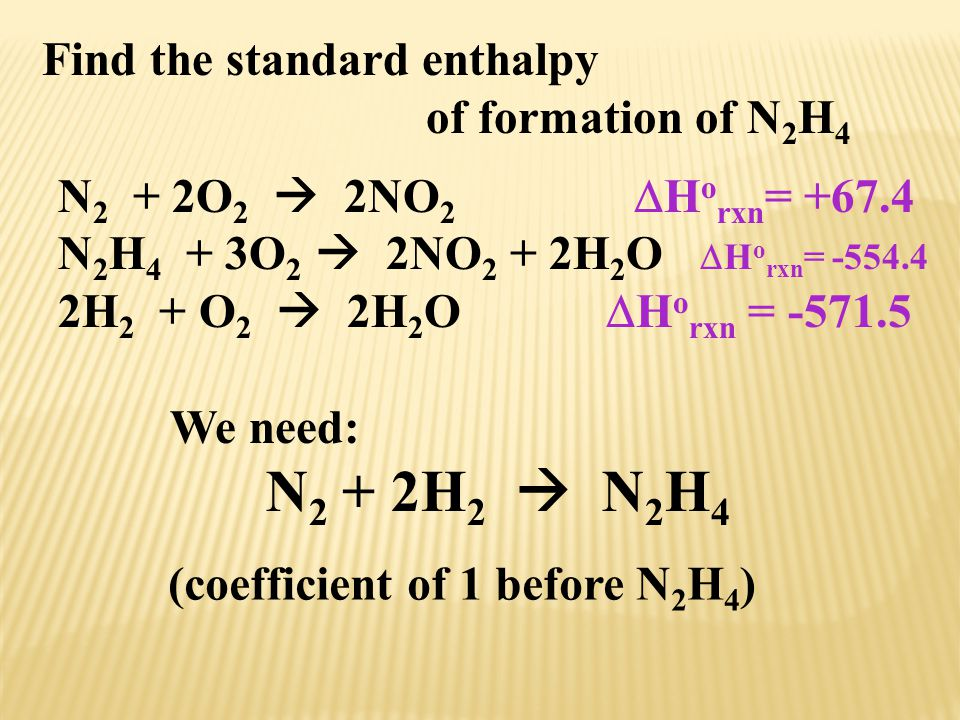 Find the standard enthalpy of formation of N 2 H 4 N 2 + 2O 2  2NO 2  H o rxn = +67.4 N 2 H 4 + 3O 2  2NO 2 + 2H 2 O  H o rxn = -554.4 2H 2 + O 2