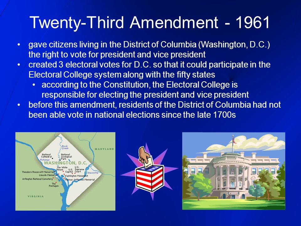 Twenty-Third Amendment - 1961 gave citizens living in the District of Columbia (Washington, D.C.) the right to vote for president and vice president c