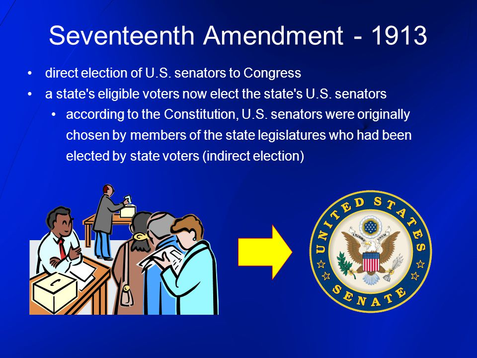 Seventeenth Amendment - 1913 direct election of U.S. senators to Congress a state's eligible voters now elect the state's U.S. senators according to t